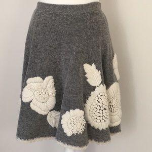 Anthropologie Kittatiny floral sweater skirt